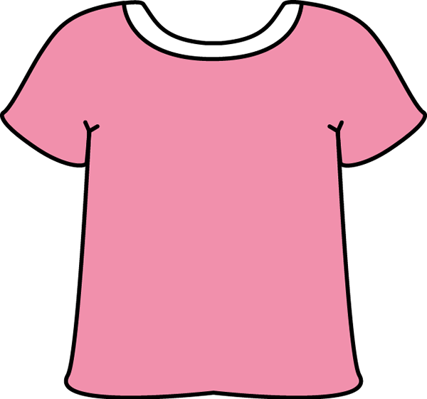 600x562 Pink Tshirt With A White Collar Clip Art