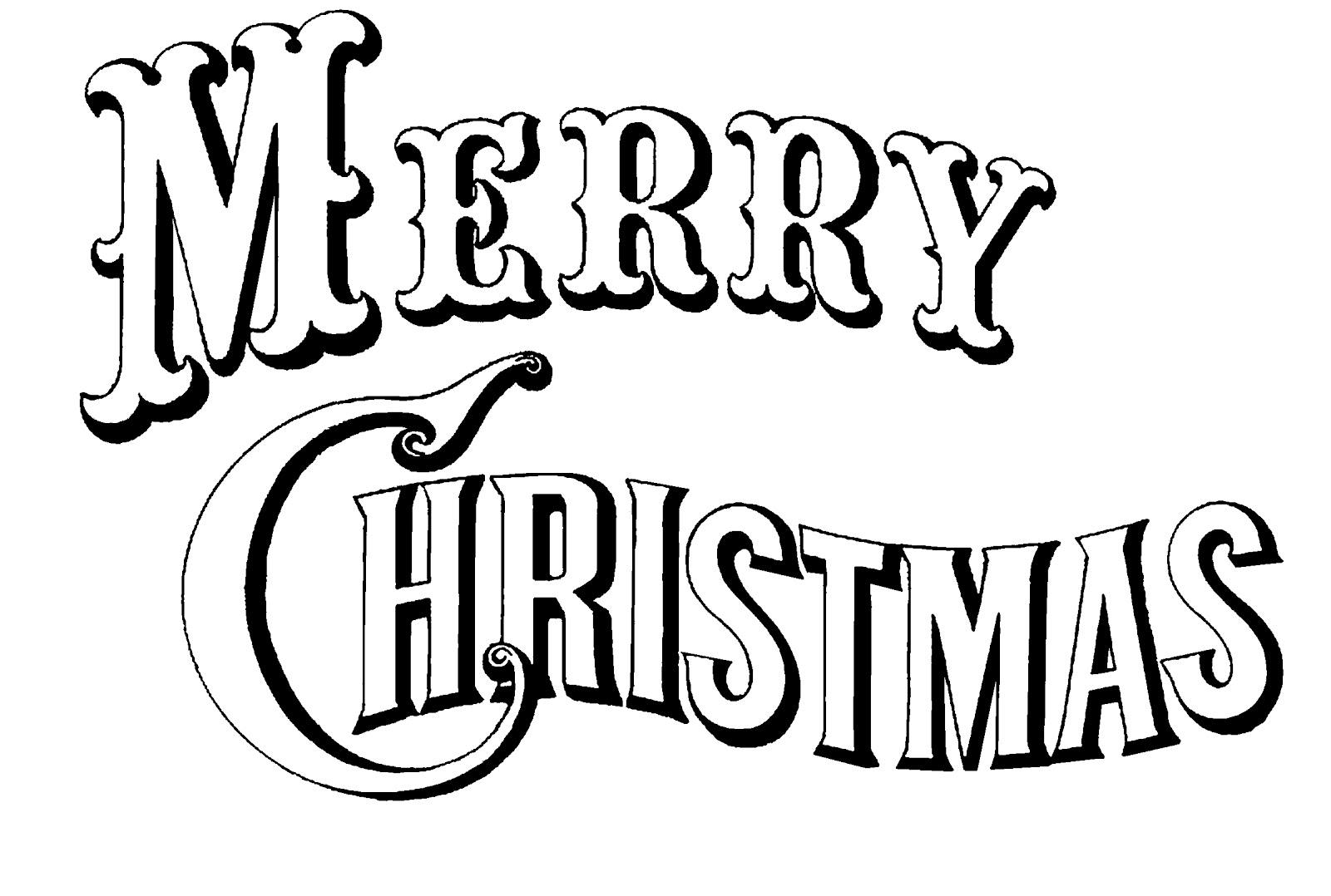 1600x1078 Merry Christmas Clip Art Black And White Happy Holidays!