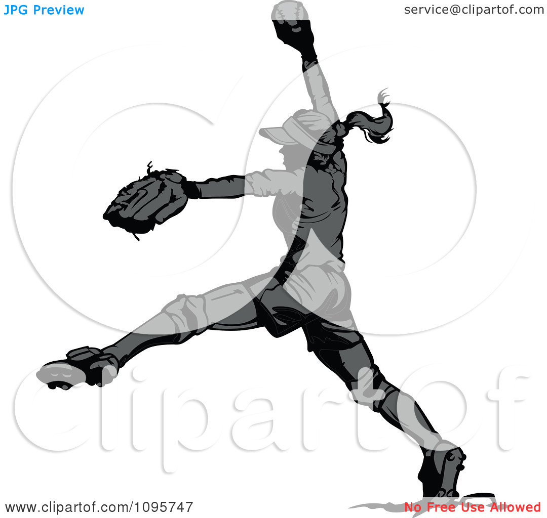 1080x1024 Softball Pitching Clipart