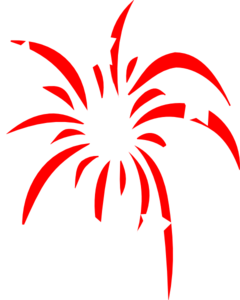 240x300 Red Fireworks With White Stars Clip Art