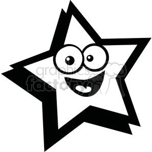300x300 Royalty Free Black And White Smiling Star 379923 Vector Clip Art