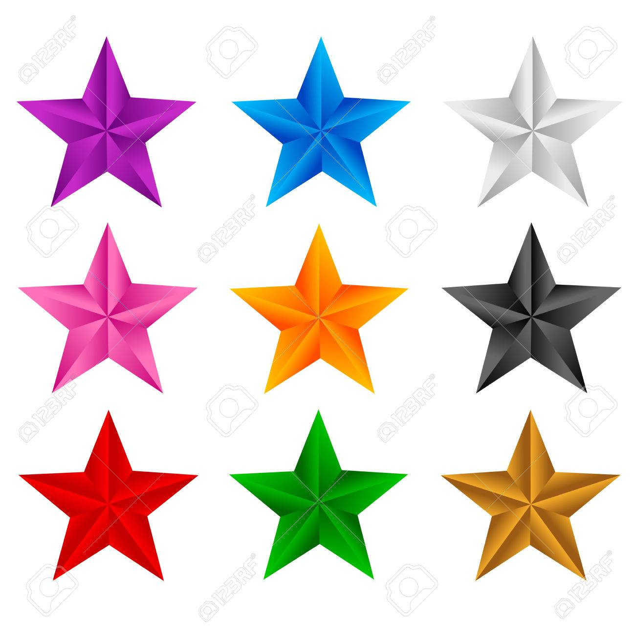 1299x1300 Colorful Stars Clip Art Isolated On White Background Royalty Free