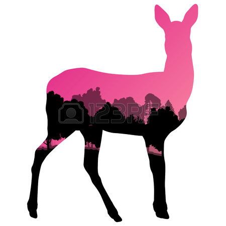450x450 Black Silhouette Of A Whitetail Deer Clip Art Royalty Free