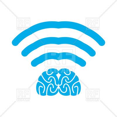 400x400 Wi Fi Brain. Wifi Mind. Wireless Connection Wiseacre. Royalty Free