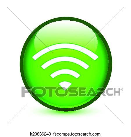 450x470 Clipart Of Green Wifi Or Wireless Sign Glossy Button K20836240