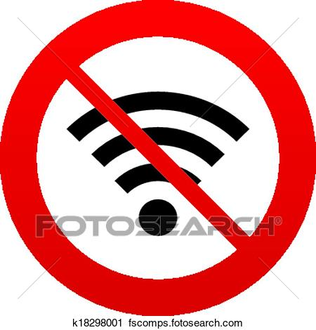 450x470 Clipart Of No Wifi Sign. Wi Fi Symbol. Wireless Network. K18298001