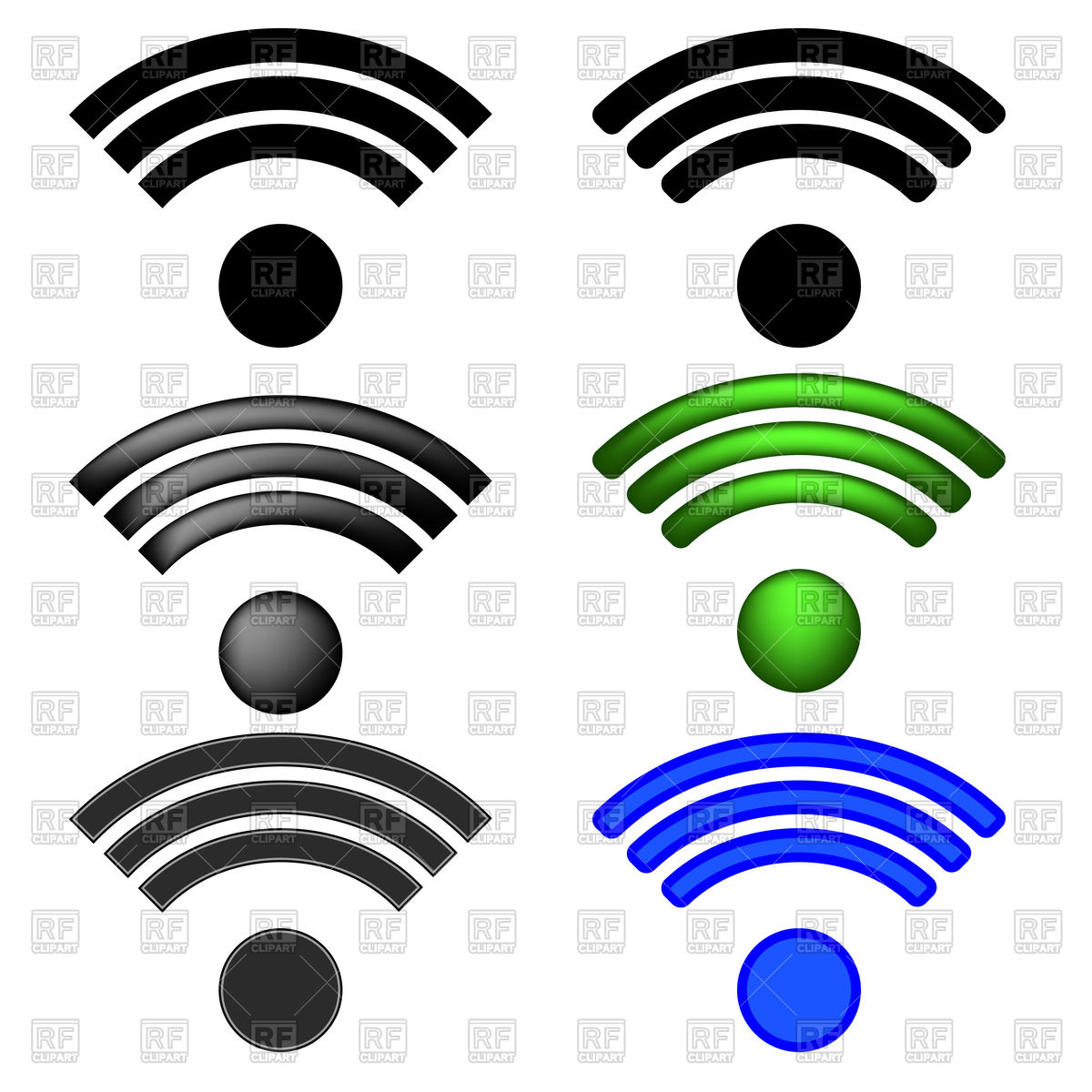 1200x1200 Set Of Wifi Icons Royalty Free Vector Clip Art Image