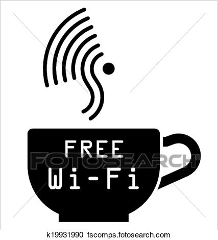 427x470 Clipart Of Internet Cafe Free Wifi Symbol K19931990