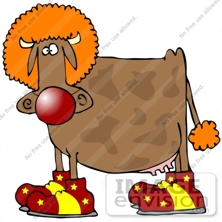 450x450 Clip Art Graphic Of A Clowning Brown Cow Wearing An Orange Wig