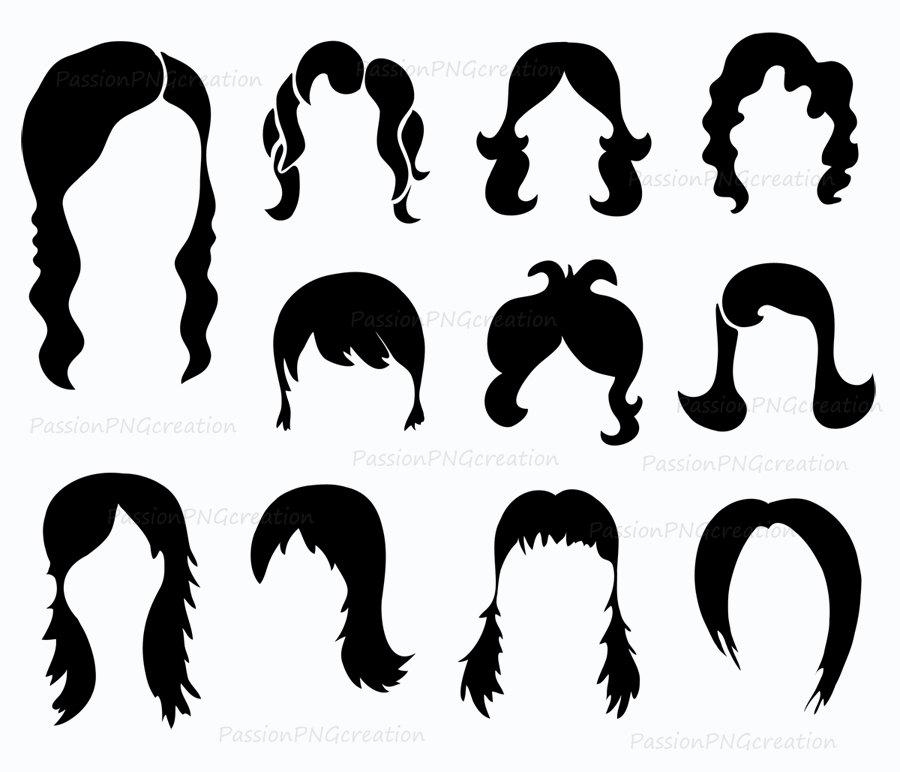 900x772 Digital Wig Clipart Photobooth Props Printable Digital Hair