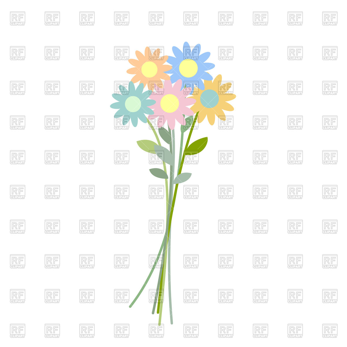 1200x1200 Bouquet wildflowers Royalty Free Vector Clip Art Image