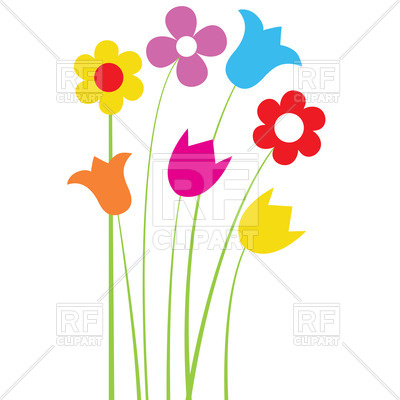400x400 Simple cartoon wildflowers Royalty Free Vector Clip Art Image