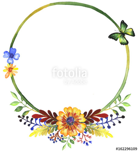 456x500 Watercolor frame of wildflowers clip art 3 Stock photo and