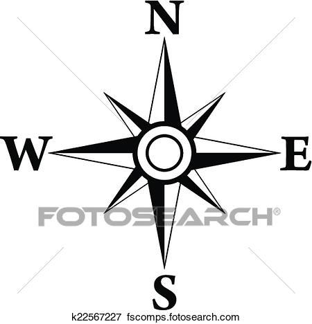 450x468 Clip Art Of Wind Rose Symbol K22567227