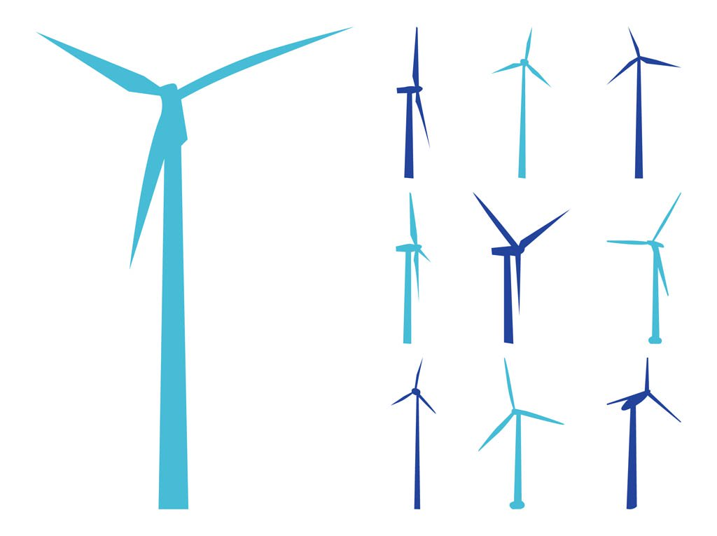 1024x765 Wind Turbines Silhouettes Vector Art Amp Graphics