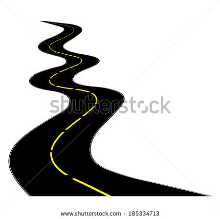 450x448 Winding Road Black And White Clipart