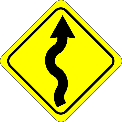 500x500 Winding Road Caution Sign Color Vector Image Public Domain Vectors