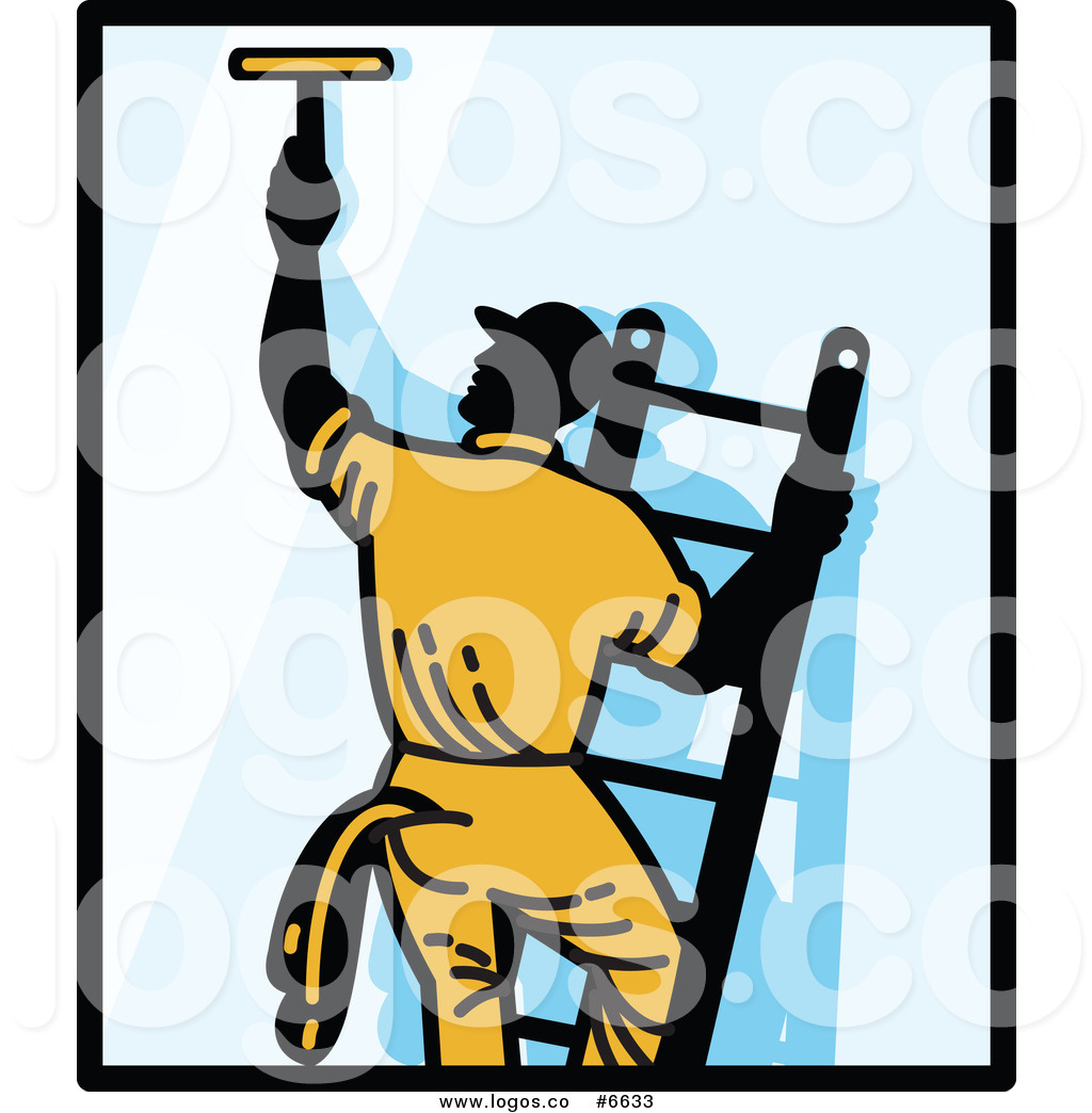 1024x1044 Royalty Free Clip Art Vector Logo Of A Window Washer On A Ladder