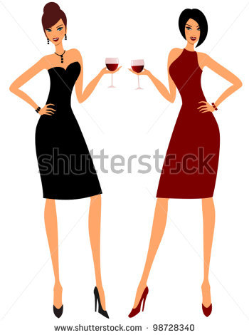 350x470 Women Drinking Wine Clip Art Two Young Attractive Women