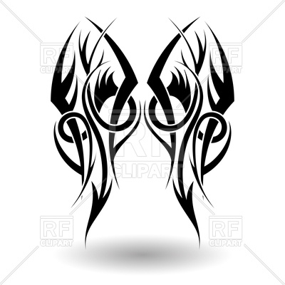 400x400 Tribal Tattoo In Wings Shape Royalty Free Vector Clip Art Image
