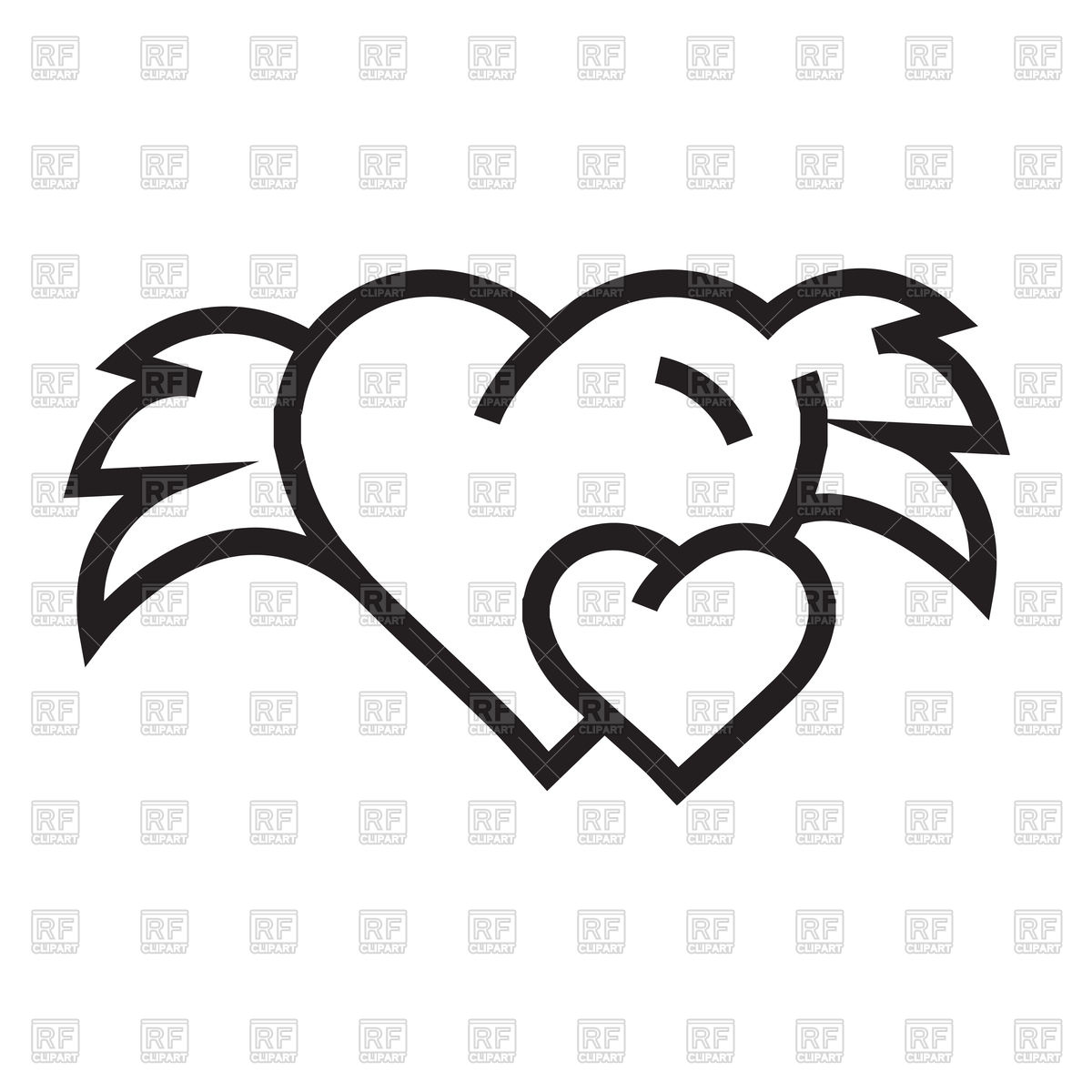 1200x1200 Hearts With Wings Outline Royalty Free Vector Clip Art Image