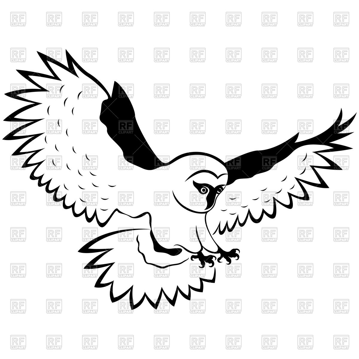 1200x1200 Owl In Flight With Outstretched Wings Royalty Free Vector Clip Art