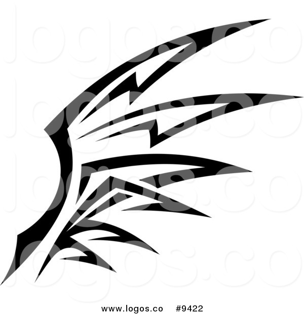 600x620 Royalty Free Clip Art Vector Logo Of A Black And White Tribal Wing