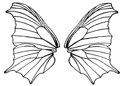 400x280 Butterfly Wings Black And White Clipart