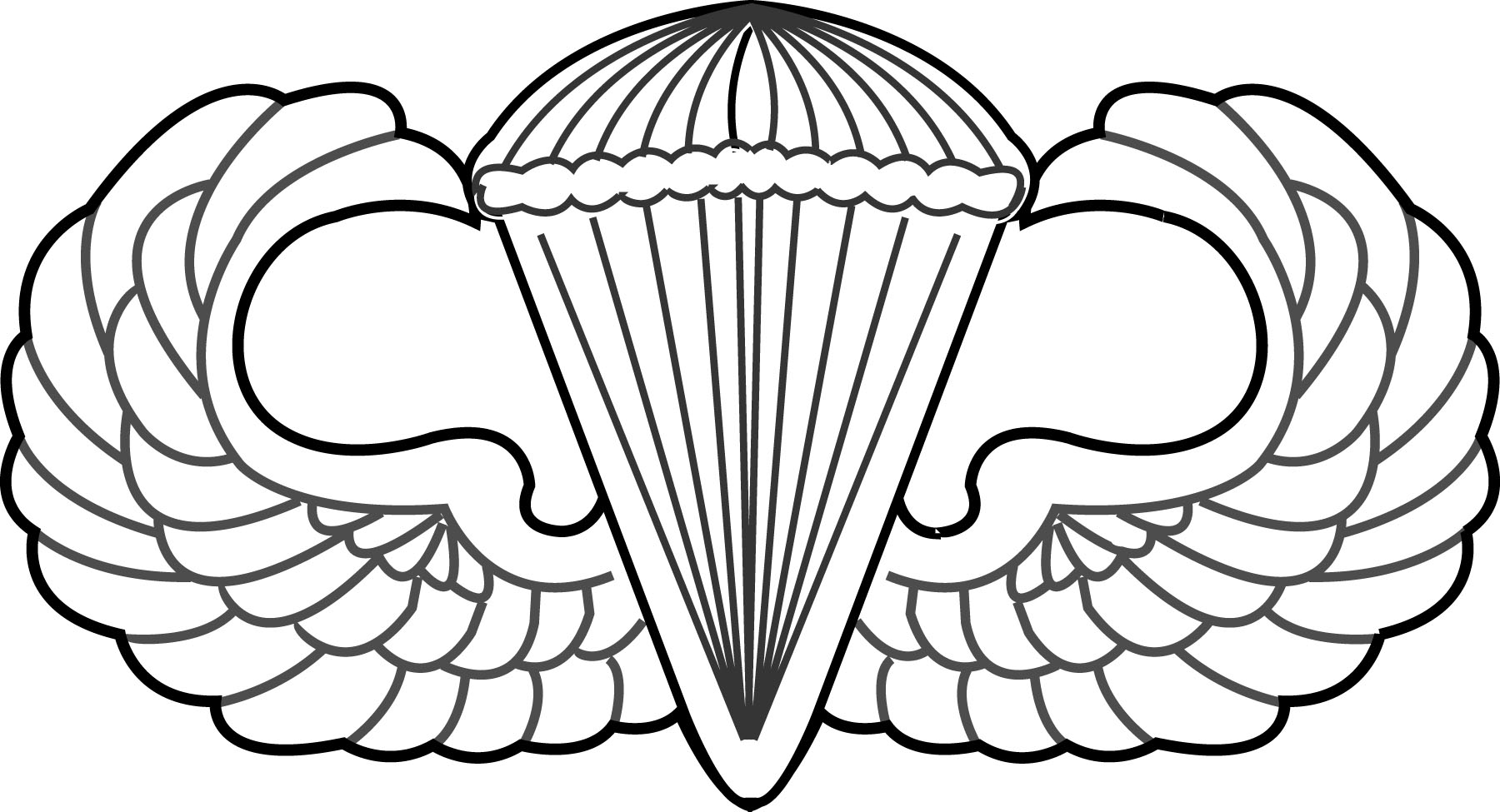 1800x975 Airborne Wings Clipart