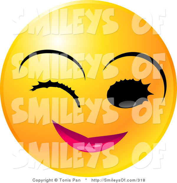 600x620 Vector Of A Winking Yellow Emoticon Face With Pink Lips, Winking