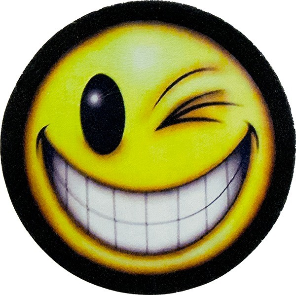 600x598 Winking Smiley Face Genuine Leather Patch Biker Leather Patches