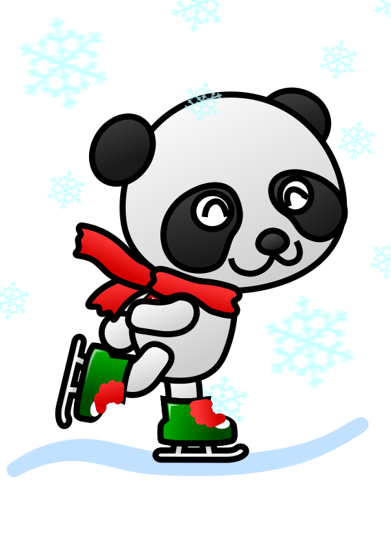 566x800 Free Panda Skating Clip Art