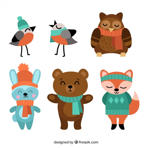 626x626 Set of birds and nice forest animals wearing winter clothes Vector