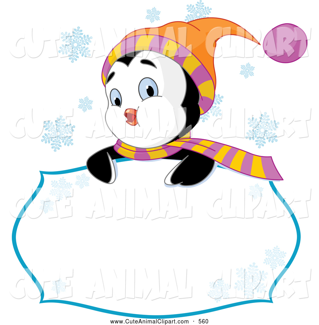 1024x1044 Vector Clip Art of a Friendly Cute Winter Penguin Looking over a
