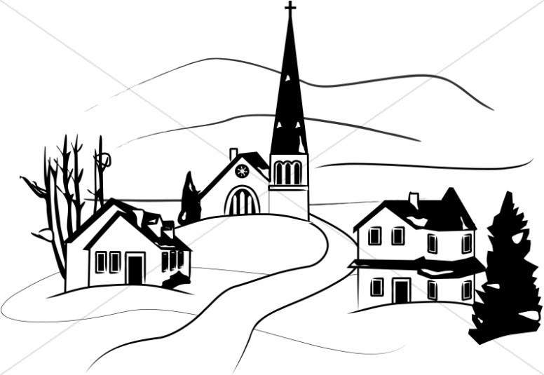 776x535 Little Town in Winter Clipart Church Clipart
