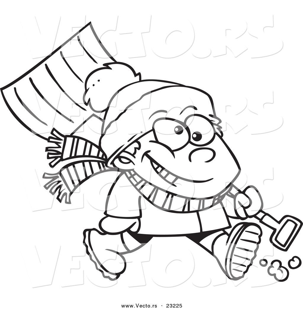 1024x1044 Vector of a Cartoon Winter Boy Carrying a Snow Shovel