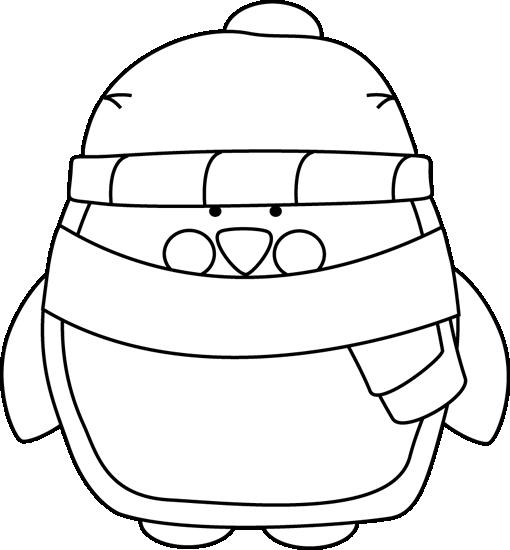 510x550 Black and White Winter Penguin Clip Art
