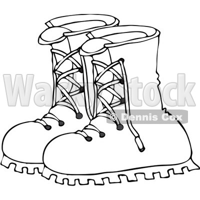 400x400 Free Vector Clip Art Illustration of a Black And White Boots
