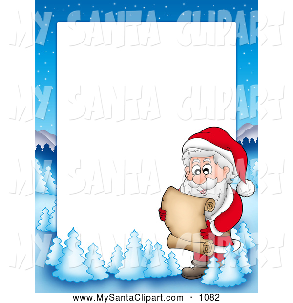 600x620 Christmas Clip Art of a Frame Border of Santa Reading a List with