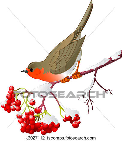 407x470 Clipart of Winter bird k3027112