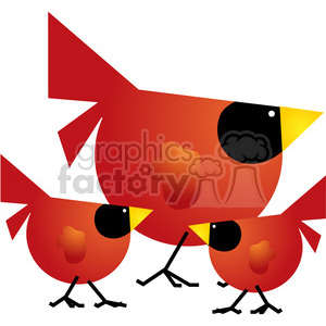 300x300 Royalty Free Red Cardinal 03 Family 387491 Vector Clip Art Image