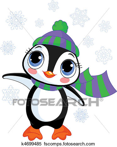 373x470 Clipart Of Cute Winter Penguin With Hat And S K4699485