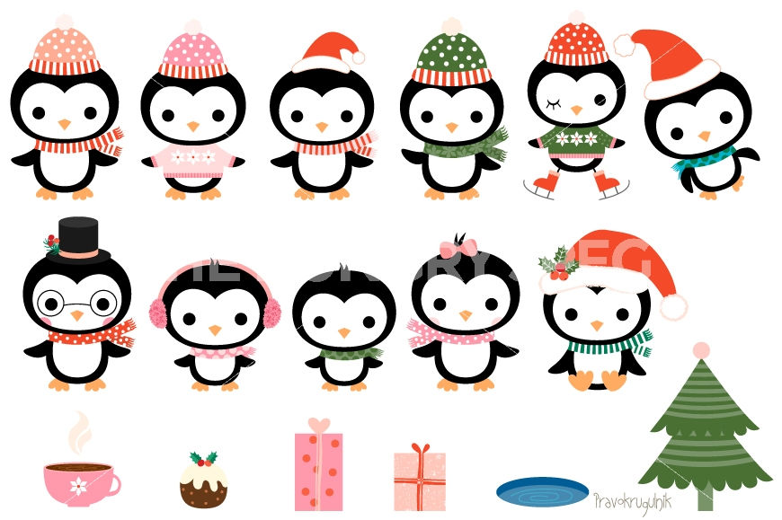 870x579 Christmas penguins clipart set, Cute penguin clip art collection