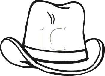 350x256 Picture Of A Cowboy Hat In Black In White In A Vector Clip Art