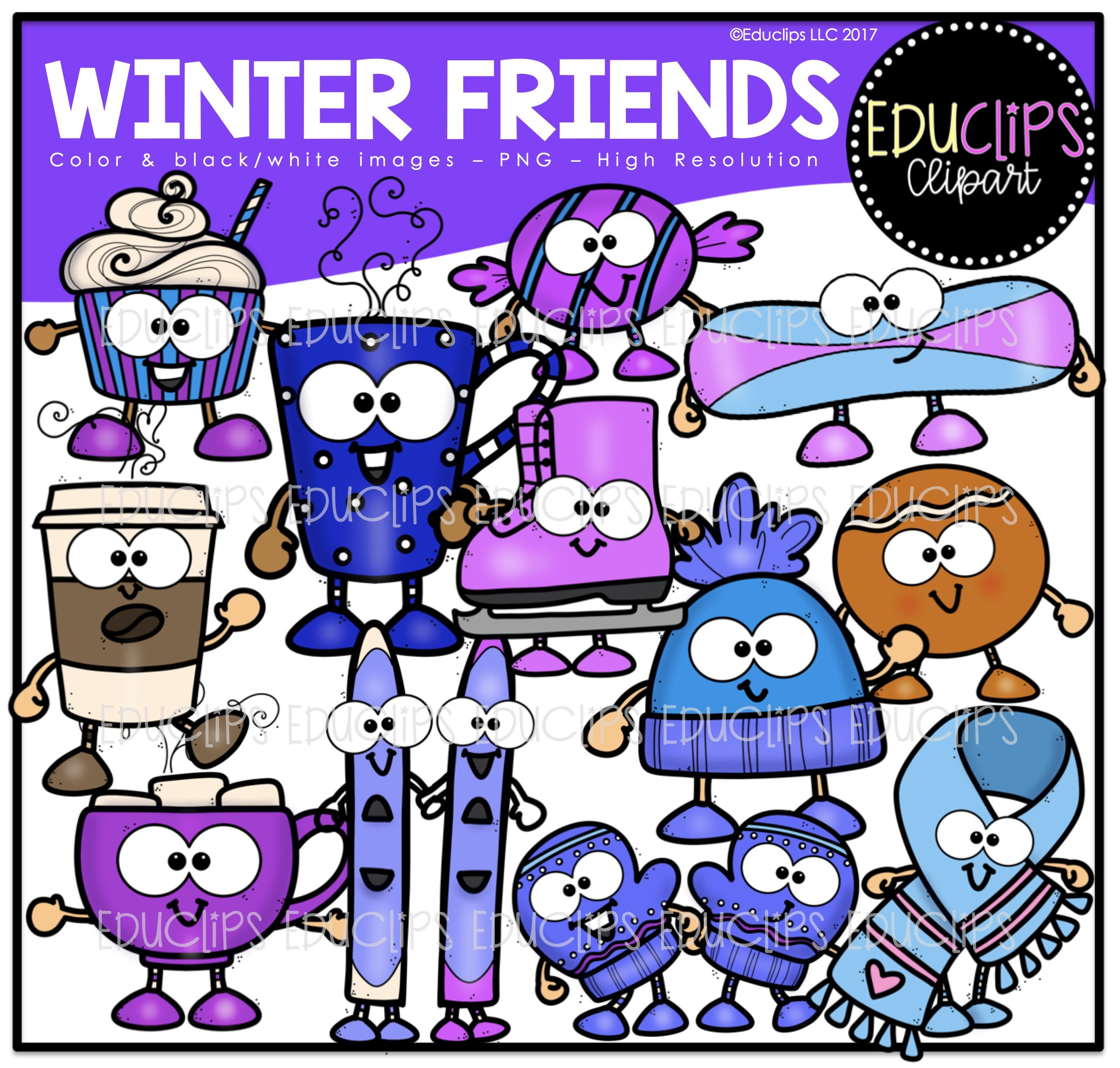 2582x2462 Winter Clip Art Mega Bundle (Color And Bampw)