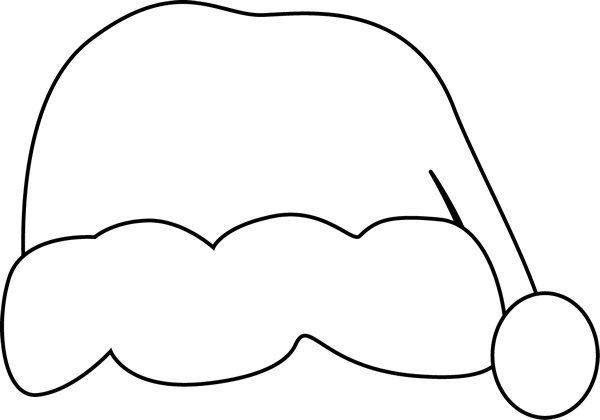 600x420 Black And White Santa Hat Clip Art