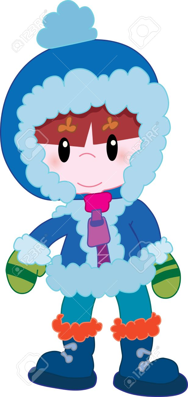 617x1300 Little Boy In Winter Clothes Royalty Free Cliparts, Vectors,