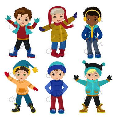383x400 Boys Winter Clothing Clipart Set From Sandydigitalart