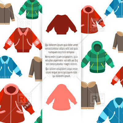 400x400 Winter Jackets Or Coats Poster On White Backgroud
