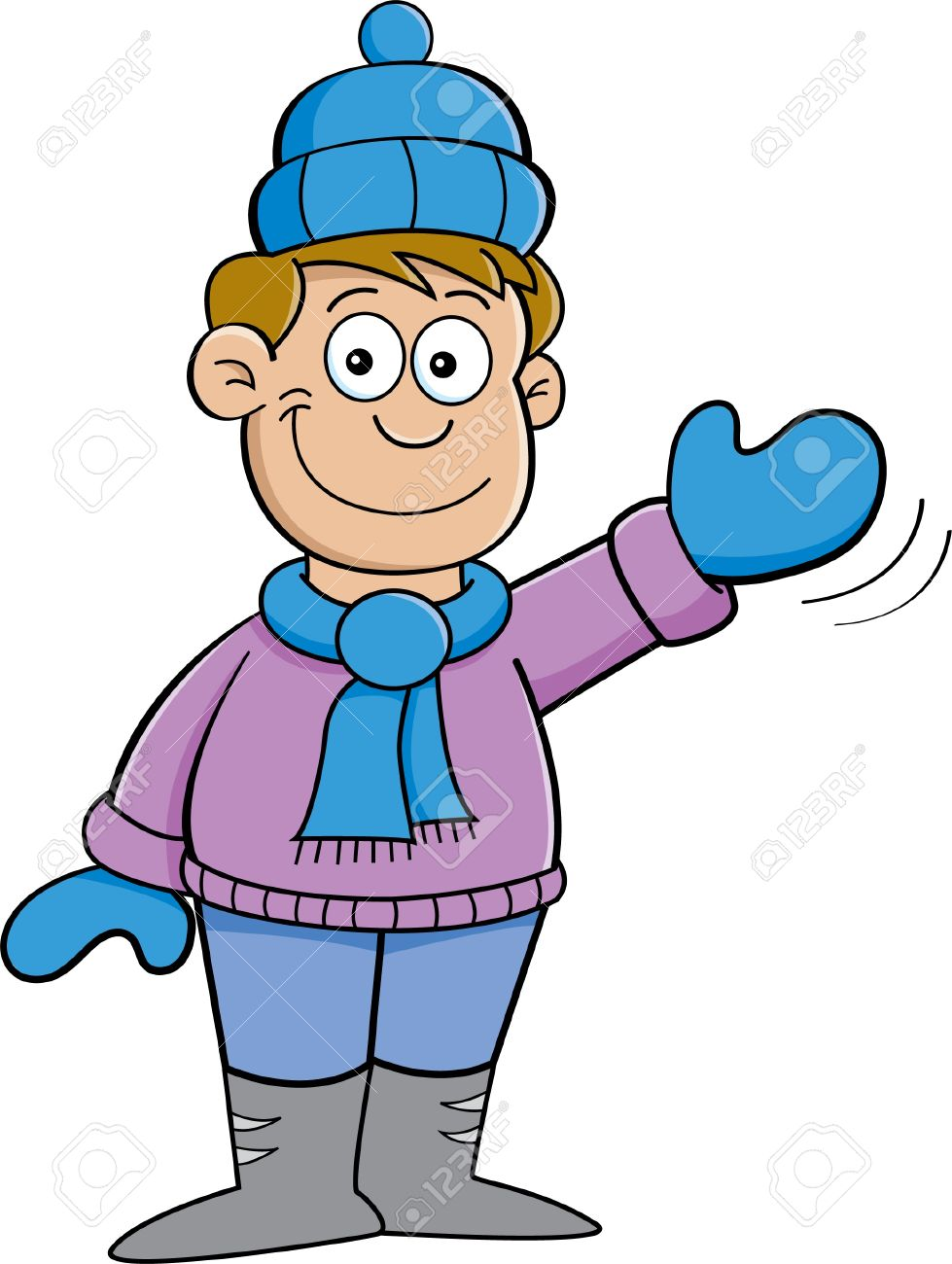 979x1300 Cartoon Illustration Of A Boy In Winter Clothes Waving Royalty
